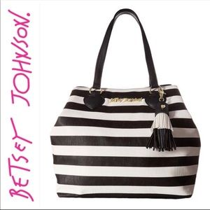 Betsey Johnson Flash Tat Trap Tote black and white